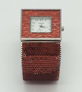 Red Sequined Silver Tone Sophie Quartz Hinged Cuff Watch Bracelet