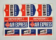 Lot Of 8 Vintage Sheet Of United Airlines Stickers Baggage Mail Air Express