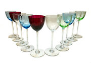 10 Baccarat Glass Wine Goblets Aquarelle Montaigne Optic Clear, Blue, Green, Red