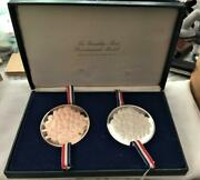 Larger 1976 Bi-centennial Silver And Copper Medals Franklin Mint Free Usa Shipping