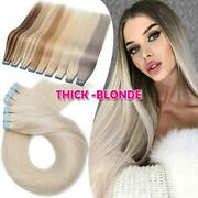 60pcs Tape In Real 100 Remy Russian Human Hair Extensions Thick White Skin Weft
