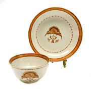 Chinese Export Porcelain Cup And Saucer, Armorial Crest Birds, Circa 1870