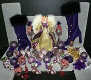 Vintage 90's Purple Victorian Themed Christmas Ornaments Lot Of 35 Ornaments