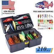 210 Piece Fishing Lures Baits Tackle Including Crankbaits, Spinnerbaits Plastic