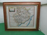 18th Century Hand Coloured Map The County Of Monmouth By Robert Morden