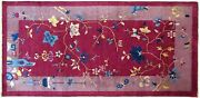 Antique Chinese Art Deco Oriental Rug In Small Runner Size With Free Shipping