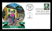 1048 25c Stamp 1958 Paul Revere Fdc Hand Painted By William N. Wright Ua