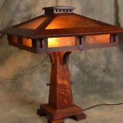 Mission Oak Prairie Craftsman Table Lamp With Mica Shade Panels