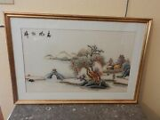 Chinese Stitch Embroidery Silk Panel Framed Houses Trees River Mountains
