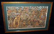 40s Balinese Koa Framed Folk Painting Figures And Temples Unsigned Asl