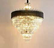 Crystals Chandelier Round Lights Black Luxury Modern Style With Led Lighting New