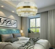 Modern Light Crystal Chandelier Household Fixture Luxury Round Shape Gold Lining