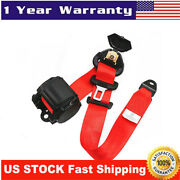 3point Retractable Car Safety Seat Belt Lap W/ Curved Rigid Buckle Warning Cable