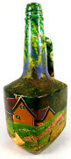 Vintage Folk Art Hand Painted Bottle Signed Ewald 1940's Vermont Countryside