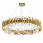 Golden Round Chandelier Light And Crystal Indoor Home Luxury Serenity Night Lamp
