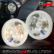 7 Round H4 Conversion Crystal Glass Lens Halo Led Head Lights Lamps Set Chrome
