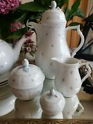 Antique Ak-kaiser Germany Fleur Tea Pot And Coffee Pot And Side Plates