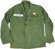 Vintage Military Hbt Shirt/jacket Named 13 Star Buttons Us Army Paratrooper 50s