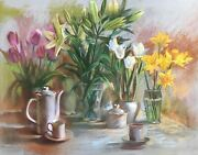 Original Pastel Painting. Still Life With Coffee Cups. Daffodils Lilies Tulips