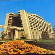 Disney World Contemporary Resort Outside View With Monorail Train Chrome Posted