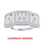 1.85 Ct Moissanite Square Forever One Micro Pave Halo 3 Stone Engagement Ring