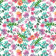 Fabric Flowers Watercolor Wild Ride Dtextiles On White Cotton 1/4 Yard 828c1
