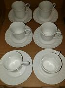 Gibson Home White Cups Raised Dots Set Of Six Cups And Saucers Tea Coffee Bx 200