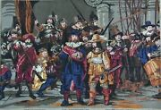 Vintage Rembrandt The Night Watch Needlepoint Large Completed Cross Stitch
