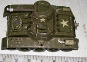 Vintage Gama J Tank Clockwork Tin Plate Lithographed Army Toy U.s. Zone Germany