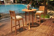 3-pc Outdoor Bar Patio Pool Set 36 Round Table 2 Armless Chairs Maldives