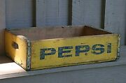 Old Vintage Wooden Yellow Pepsi Soda Pop Bottle Crate Carrier Tool Open Box A