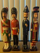 Four British Soldiers - Hand Carved Wooden Figurines 17.5 Height