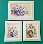 """3 Vintage Miniature Oil Paintings Of Bowls Of Flowers - 2 Sizes - 4x 4¾"""" And 4¾""""x"""