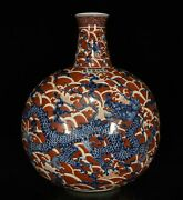 14.2 Chinese Fine Antique Porcelain Xuande Blue White Red Dragon Pattern Vases