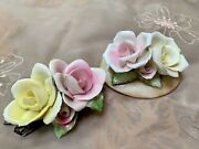 Capodimonte Roses Two Porcelain Figurines, One With Stems, One On Base, Lovely