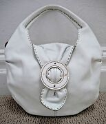 Henry Beguelin White Leather Bead Stitched Detail Hobo Handbag Carried Once
