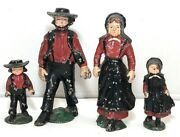 Cast Iron Amish Family Of 4 Figures