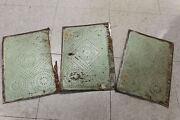 3 Antique Pie Safe Art Punched Tin Door Panels 9 3/4 X 14 Some Damage On Each