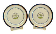 Pair Chinese Export Porcelain Cobalt Blue And Gilt Plates, Circa 1800. Trees