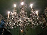 Antique Large English Cut Glass Eight-light Chandelier 20th Century 55 High