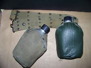 Vintage Us Military Army Web Belt And Two Canteens And Covers  Made In Japan