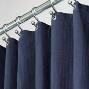 Mdesign Waffle Weave Fabric Shower Curtain - 72 Long - Navy Blue