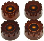 4 Pcs Amber Knurled Lp Guitar Speed Dial Knobs Control Knobs For Guitar Bass