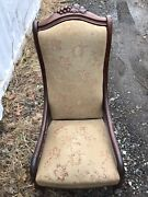 Antique Armless Rocker Rocking Chair Walnut Carved Victorian Sewing Tapestry Usa