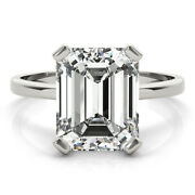 3.55 Ct Emerald Moissanite Forever One Def Solitaire Engagement Wedding Ring