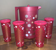 Tupperware Pitcher And Tumblers Set- Christmas Design-with Glitter