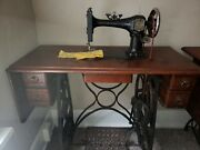 Rare Working Household Fiddle Base Treadle Sewing Machine
