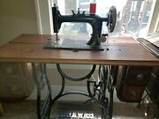 New Home Treadle Sewing Machine-works- Coffin Top Wood Cabinet