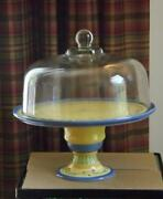 Pfaltzgraff Pistoulet Footed Cake Plate Stand With Glass Dome Cover 12.5