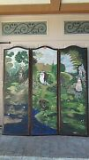 Antique19c French Louis Xv 3- Panel Leather Hand Painted Cort Scene Floor Screen